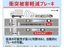 衝突軽減ブレーキが搭載!衝突の恐れがあった際、自動でブレーキが作動する安全装備です♪