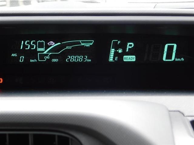 視認性の高いデジタルメーターとハイブリッドシステムインジケーター。ハイブリッドシステム作動状況・燃費の推移を表示でき、燃費向上に役立ちます。走行距離は28083km(入荷時)