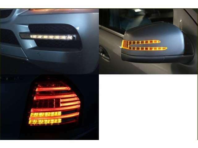 LEDテールランプ  LEDウインカー  LEDドライビングランプなど 最近のベンツらしい灯火類へ変更となった後期モデル