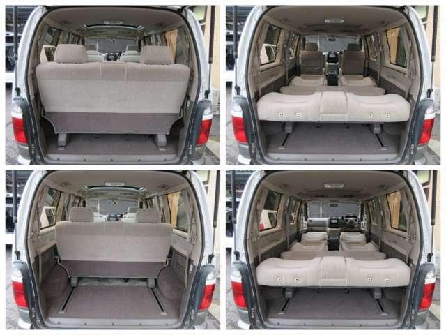 ラゲッジスペースは後部座席をスライドさせると更に広々とした収納スペースが確保出来ます♪フルフラットシートになりますので社内泊も可能です♪好みの用途に応じてシートをアレンジして下さい♪
