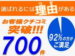 お陰様でお客様のクチコミが700件を突破致しました!すべてのお客様に感謝しております!