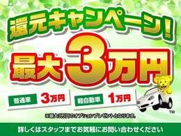 オプション3万円分サービス中!!大人気ドラレコや希望ナンバー申請、スモークフィルム貼りなど、追加オプションにご利用いただけます!!