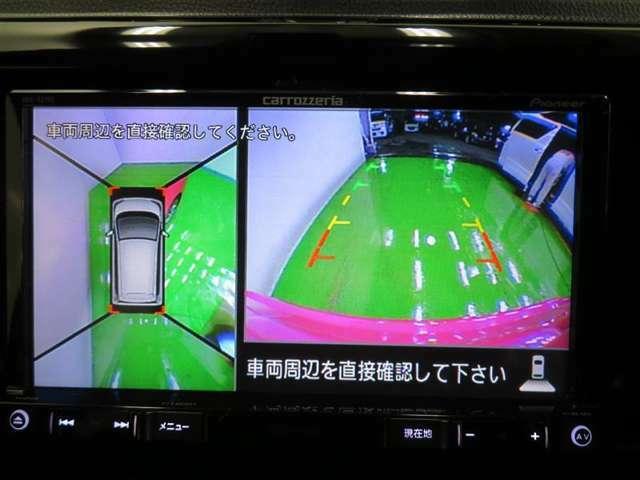 クルマを真上から見ているような俯瞰の映像を映し出す「アラウンドビューモニター」を装備。運転席から見えにくい場所を確認でき、狭いスペースでの駐車も安心です♪