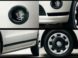 """""""ブラックアクセント リミテッド SA III""""特別装備 LEDフォグランプ(ブラックリング付)、バンパーモール(フロント/リヤ)、サイドモール、14インチ2トーンカラードフルホイールキャップ(キャンバスエンブレム)"""