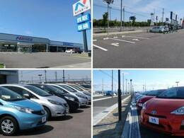 大きなNマークの看板が目印!広々とした駐車場をご用意してお待ちしております。展示場には200台以上のバリエーション豊かな在庫をご用意。メーカー問わず比較していただけます。