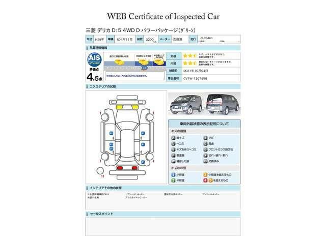第三者評価機関「AIS社」の車両検査済み!総合評価4.5点(評価点はAISによるS~Rの評価で令和3年10月現在のものです)