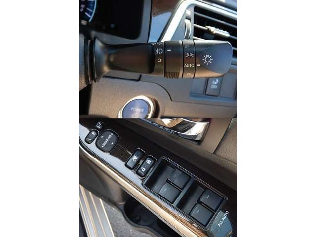 【ハンドルコラム部(写真上)】オートライト機能付HIDヘッドライトとフォグライトスイッチです♪/【運転席ドアパネル(写真下)】駐車時に便利な電動格納ウィンカーミラーとパワーウィンドーの操作パネルです♪