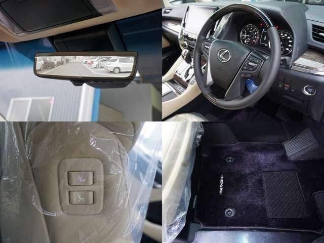 デジタルインナーミラー装備。 本当に綺麗に見えます。 拡大機能の装備しておりますので高速走行時などは助かります。 後続車両の運転手の顔までクッキリ映ります。 助手席は運転席から操作可能。