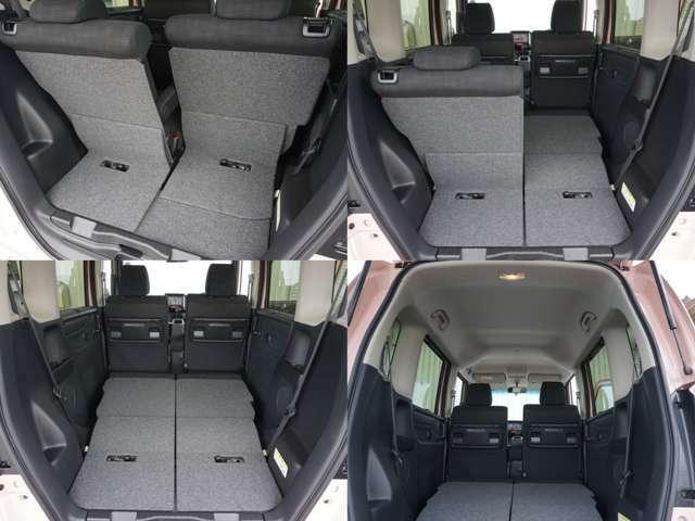 リアシートは片側ずつ倒すことも可能!お荷物やシーンに合わせてアレンジできますのでとっても便利です!