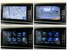 フルセグTVやDVD再生、Bluetooth接続もご利用できますナビゲーションの各画面です。安心のバックカメラなどドライブの快適サポートが満載です。