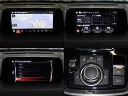 7インチセンターディスプレイにナビやフルセグTVなどのエンターテーメント機能を凝縮したマツダコネクト。バックカメラで後方視界も確保します。