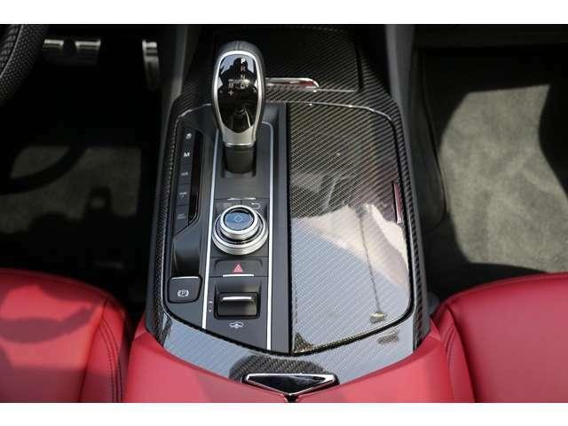オプションのカーボンインテリアですので、パネル類は、カーボンファイバーになります。