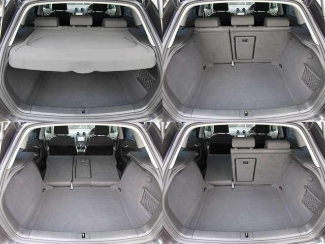 ラゲッジスペースは後部座席を倒すと更に広々とした収納スペースが確保出来ます♪大きな荷物もしっかりと積んでいただけます♪好みの用途に応じてシートをアレンジして下さい♪