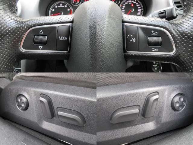 Aプラン画像:ステアリングスイッチ付き♪ステアリングから手を離さずにオーディオ等の操作が可能です♪また、運転席・助手席ともに電動シートになります♪