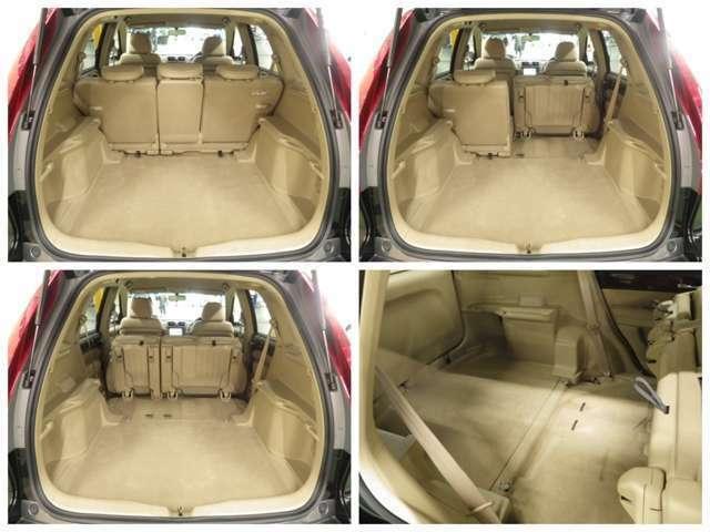 分割になっているリア席を倒す事で更に大きな荷室が生まれます!自由にアレンジでき便利です。