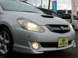 ヘッドライトは磨き上げてピカピカです。 純正HIDヘッドライトはオートライト対応 フォグランプ装備 LEDフォグも販売中