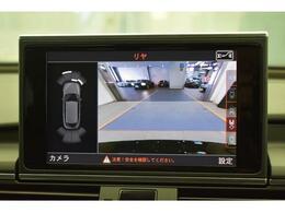 サラウンドビューカメラ『車両の4つのカメラから得た映像を合成し、上空から眺めているような映像をモニターに映し出します。車両周辺の歩行者や障害物などの発見に役立ちます。』