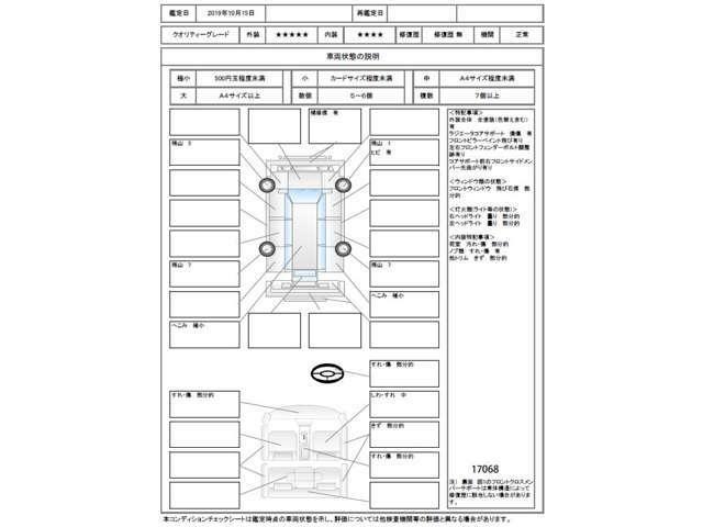 この車の鑑定証の評価点は5点評価の外装が5.点、内装が4点です。なお日本自動車鑑定協会会員のJAAA鑑定書は車内にあります。