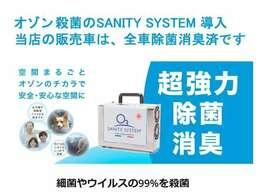 サニティーシステム『安全性に配慮され、アイルランドで開発・イタリアで製造される独自の専用機器を用いて、除菌プロセスの最後に残存オゾンを回収し空間を安全な状態に戻します』
