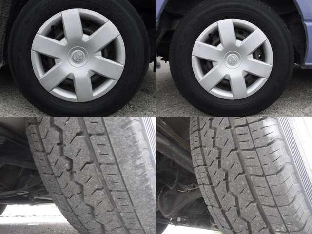 現在のタイヤの状態はラジアルタイヤ!フロント3分山.リヤ5分山程度です。スタッドレスの購入、タイヤ交換他ご相談下さい。