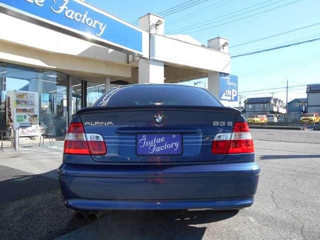 リアにはE46型アルピナの後期モデルであることを主張するB3Sのエンブレム!! ★ご購入後のメンテナンスも元BMW正規ディーラーメカニック多数在籍の「つたえファクトリー」にお任せください!