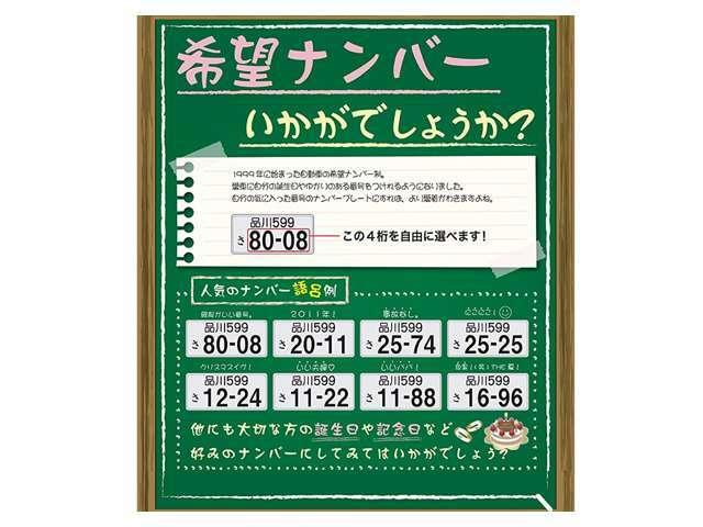 Aプラン画像:大切な方との記念日や思い入れのある数字など、ご希望の4桁の数字をお選び頂けます。人気の番号は抽選となります。◆「・・・1」「・・・7」の一桁の番号◆「1111」「8888」のぞろ目