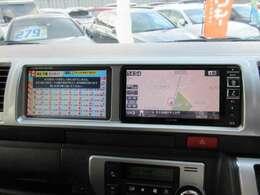 ハイエースでは人気のツインナビ仕様♪ メインのナビと、追加モニター搭載で助手席の方も快適なドライブをサポートしてくれます♪
