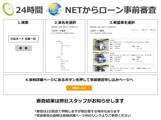 弊社WEBページからクレジットの事前審査が可能です。事前審査結果後に購入を決定でもOKです。http://www.mishima-auto.jp/SN31A068内の「事前審査申込み」ボタンを押してね
