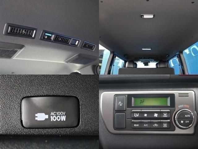 ダークプライムII特別仕様専用のブラックルーフ&ブラックピラーが装着されています! 車内全体に高級感が漂っています。標準装備のAC100Vアクセサリーコネクターも装備!