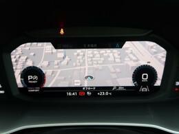 メーターパネル内に10.25インチの高解像度液晶ディスプレイを配置し、メーター、DIS(ドライバーインフォメーションシステム)、地図表示などの機能を統合したアウディバーチャルコックピットを搭載