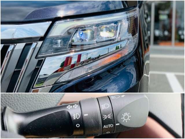 明るいLEDヘッドランプが夜間走行をアシスト。暗くなると自動でライトを点灯してくれる機能が付いています。