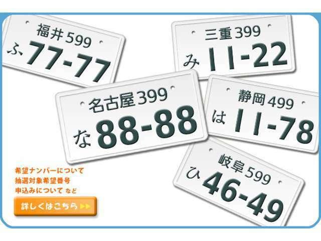 Aプラン画像:誕生日や記念日などナンバーの数字にもこだわってみませんか!?注)遠方のお客様や希望番号によっては取得出来ない場合もございます
