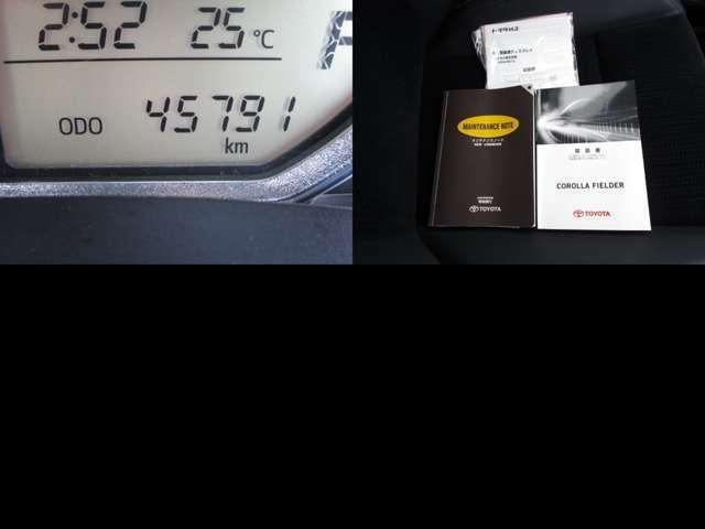 走行45791キロの実メーター 取扱説明書・記録簿も揃っています。