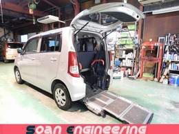 スズキ ワゴンR 660 ウィズ 車いす移動車 リヤシート付 電動固定式 検R5/2 スローパー 車いす輸送車 Tチェーン