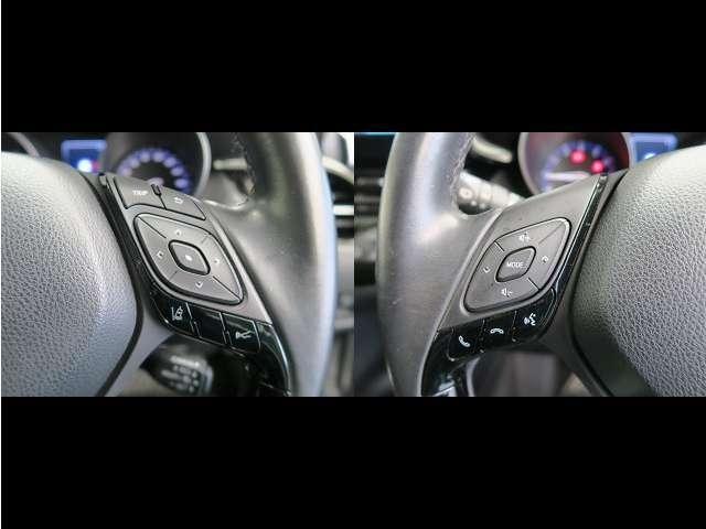 【ハンドルスイッチ】ハンドルにオーディオ操作が可能なスイッチが付いています!視線を移さず音量等の操作ができるので、わき見運転の防止につながりますよ!