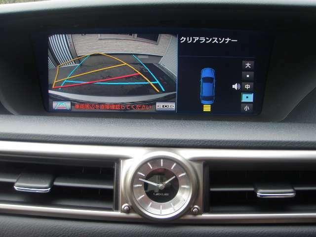 ハンドル連動ガイド線付きバックカメラ♪左右ドアミラー自動下降&リア電動シェード自動開閉します♪写りも良く、車庫入れや狭い場所でも後方確認できます♪MOPクリアランスソナー!F&R計8か所!!距離&音表示♪