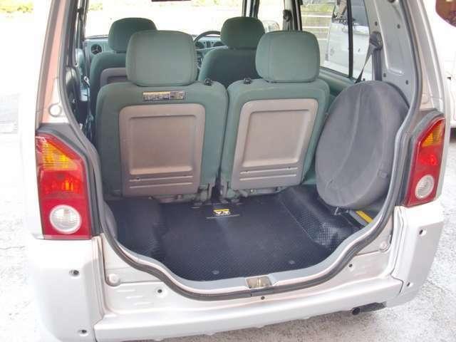 シートの後ろにある丸い物がスペアタイヤです。アメ車みたいですね。こんなところもとってもかわいいです。
