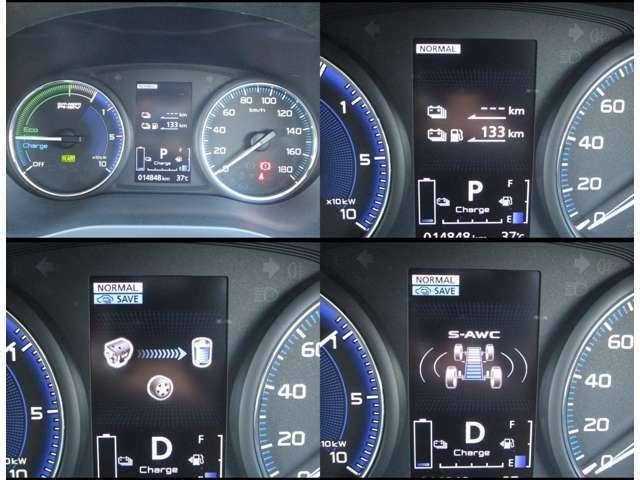 右にスピード、左パワーメーターを配置!PHEV特有のメーターです!!中央のカラー液晶には航続可能距離など様々な情報を表示!!