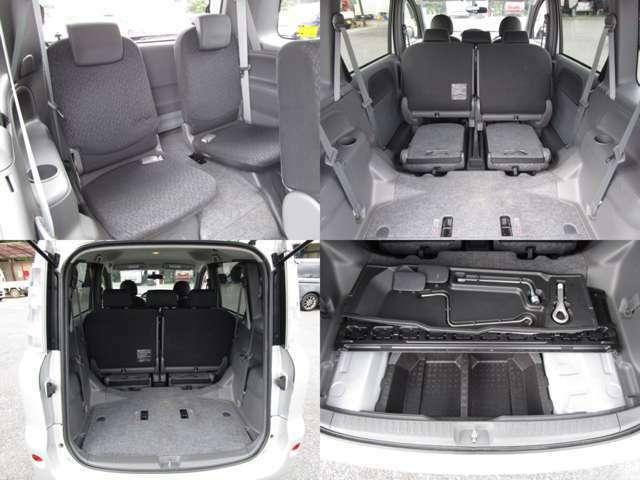 サードシート 3列シートの7人乗り サードシートは格納式で、左右を格納すれば、大きなスペースを確保出来ます。