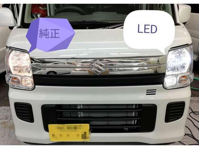 比較画像です。運転席側が純正ハロゲン、助手席側がLEDヘッドライトです。