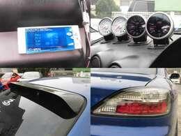 アペックスS-AFC 追加メーター(水温・油温・油圧・バキューム) ルーフスポイラー 社外LEDテール