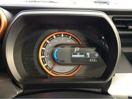 スピードメーターです。スイッチで平均燃費や瞬間燃費など、運転に関する情報が表示切替可能です。