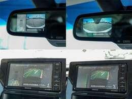 前後左右4つのカメラをCG合成して直上からの画像を合成、車庫入れも直感的に自社位置・障害物・ハンドルの切れ角がわかりやりやすくなっています。