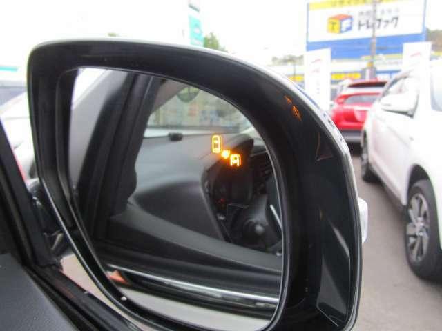 後方からの車両をミラーにて検知可能 車両検知警報システム