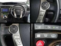 ステアリング付属のスイッチでオーディオ・エアコンの操作が可能です。クルーズコントロールを装備してます、長距離運転で重宝します。