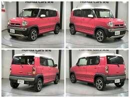 社外メモリーナビ 純正AW HIDヘッドライト ETC スマートキー装備のスズキのピンク色のハスラー Xターボ入庫しました。