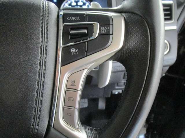先行車との車間距離を保ちつつ定速走行が出来るレーダークルーズコントロール!先行車の加速・減速・停止に対応して追従走行をサポート。