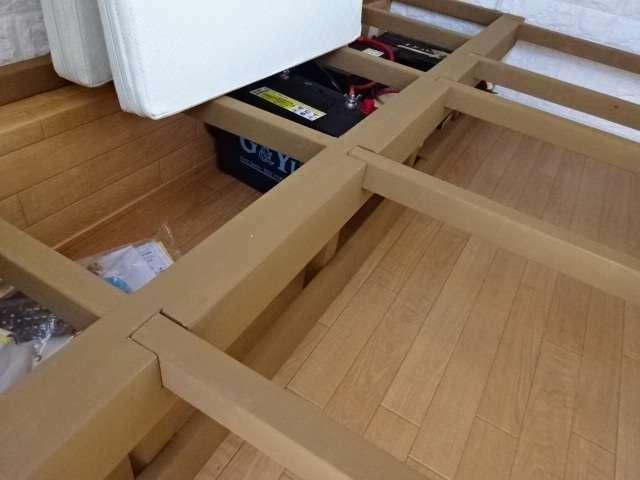 ソファー下収納スペース ソファーベッドの下は収納スペースとなっており、旅行の荷物もしっかり運ぶことができます。
