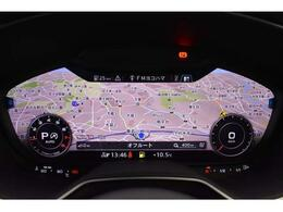 ●バーチャルコックピット『メーターパネル内に高解像度の12.3インチ液晶ディスプレイを配置。ディスプレイ内に地図が表示され、ナビゲーションの確認の際にドライバーは視線の移動を少なくします