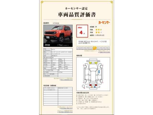 カーセンサー認定 車両品質評価書 評価点 「4」